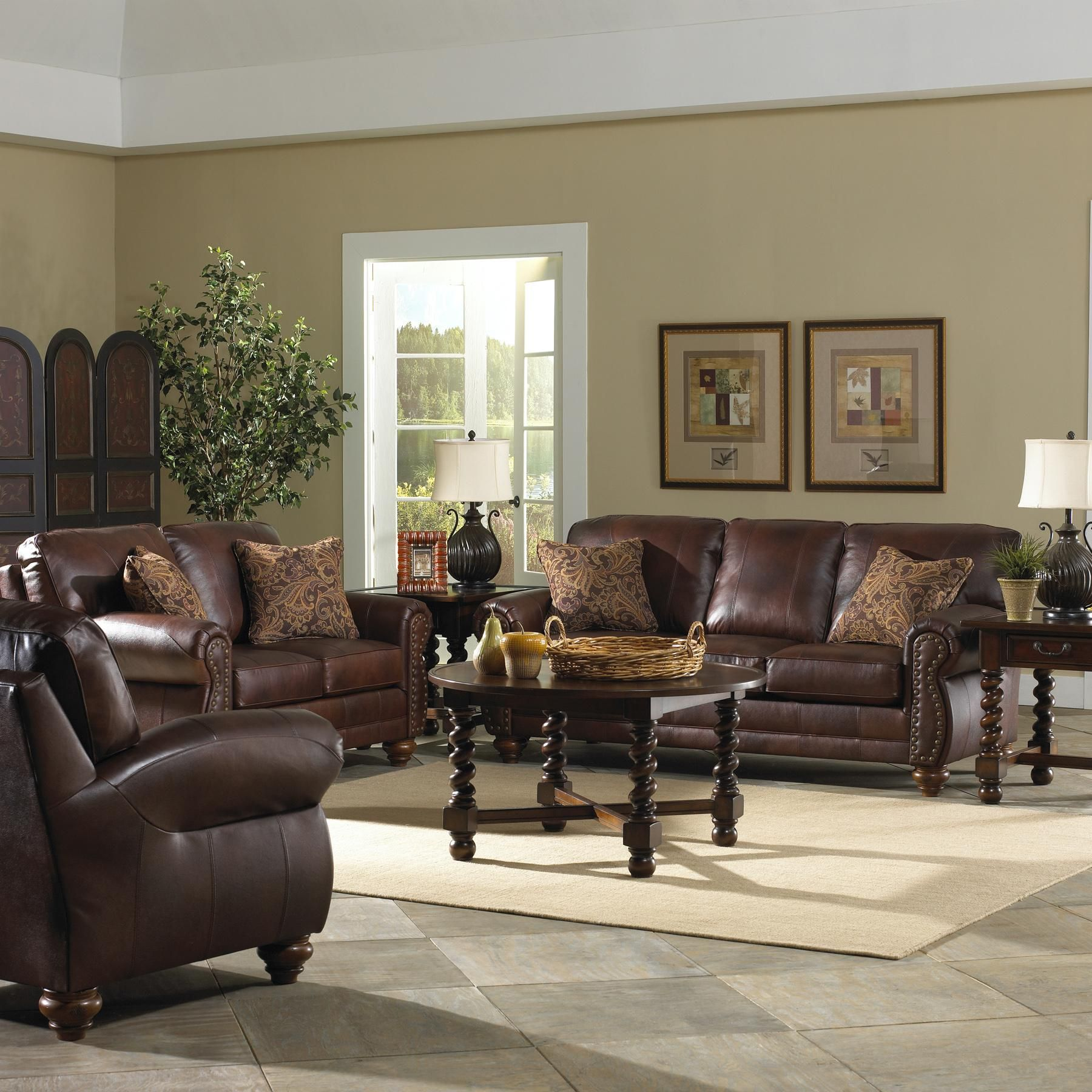 Dark Brown Leather Sofa Baer Furniture Osmond Stationary