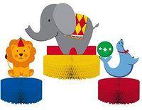 Creative Converting Circus Time Honeycomb Centerpiece Set, 3-Piece
