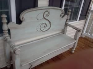 Bench made from old bed (headboard and footboard) front porch by