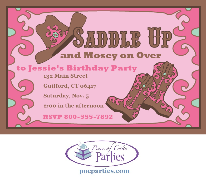 Cowgirl birthday party invitation | Piece of Cake Cowgirl Parties ...