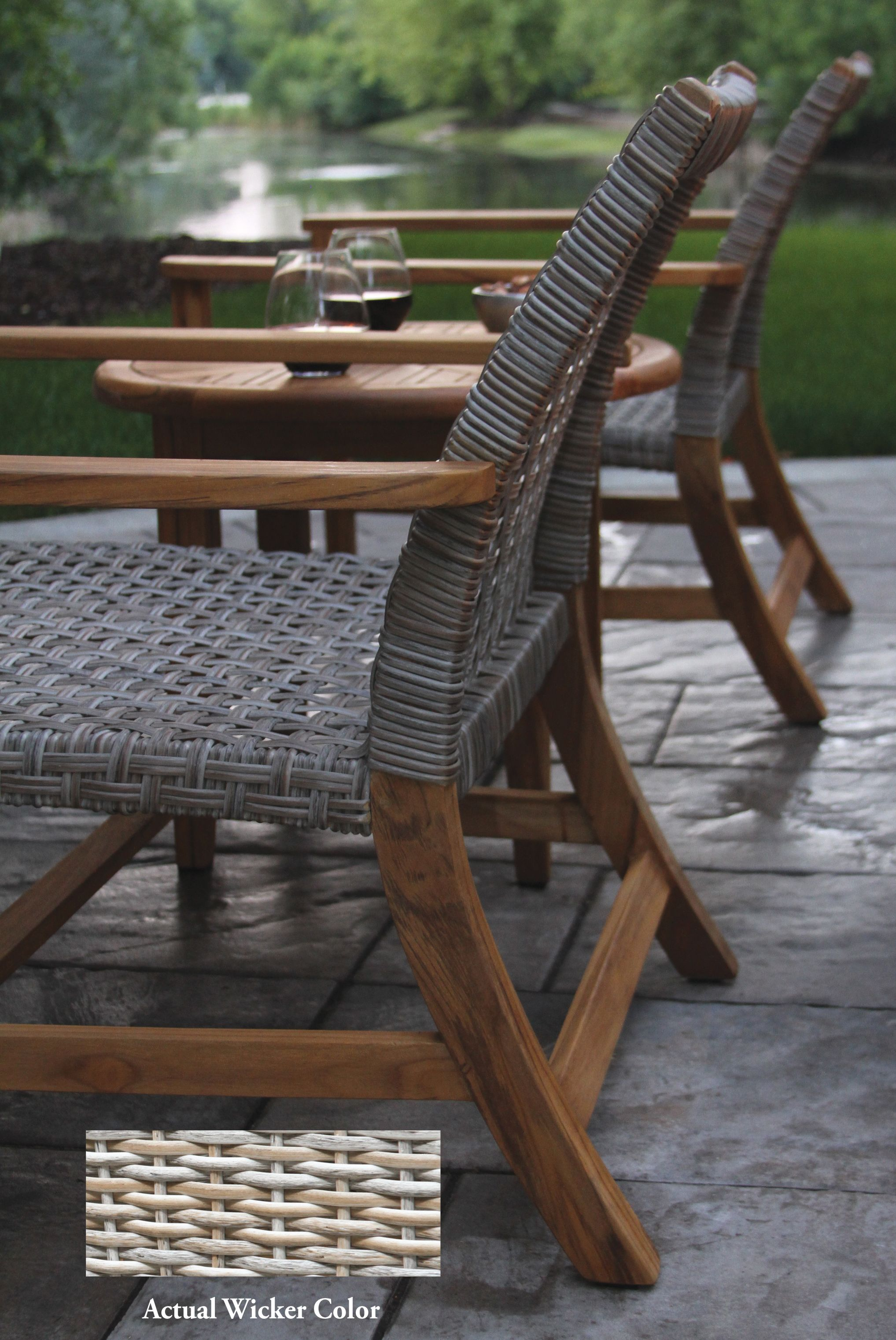 Teak Wood And Ash All Weather Wicker Lounge Chair 2pk In 2020 Wicker Lounge Chair Wicker Armchair Resin Patio Furniture