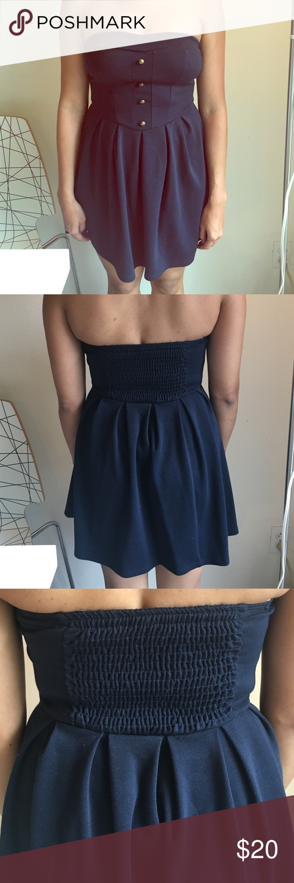 Strapless cotton urban outfitters dress Pins and Needles-  Navy strapless urban outfitters dress XS Perfect Condition Pins & Needles Dresses Mini
