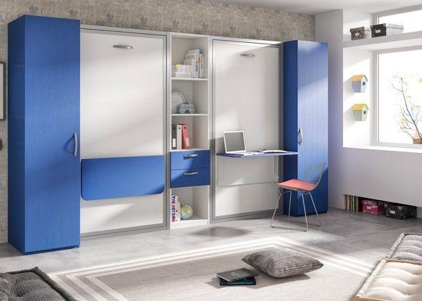 Dormitorio Infantil Con Dos Camas Abatibles Con Escritorio Elmenut Habitaciones Infantiles Dormitorios Camas Abatibles