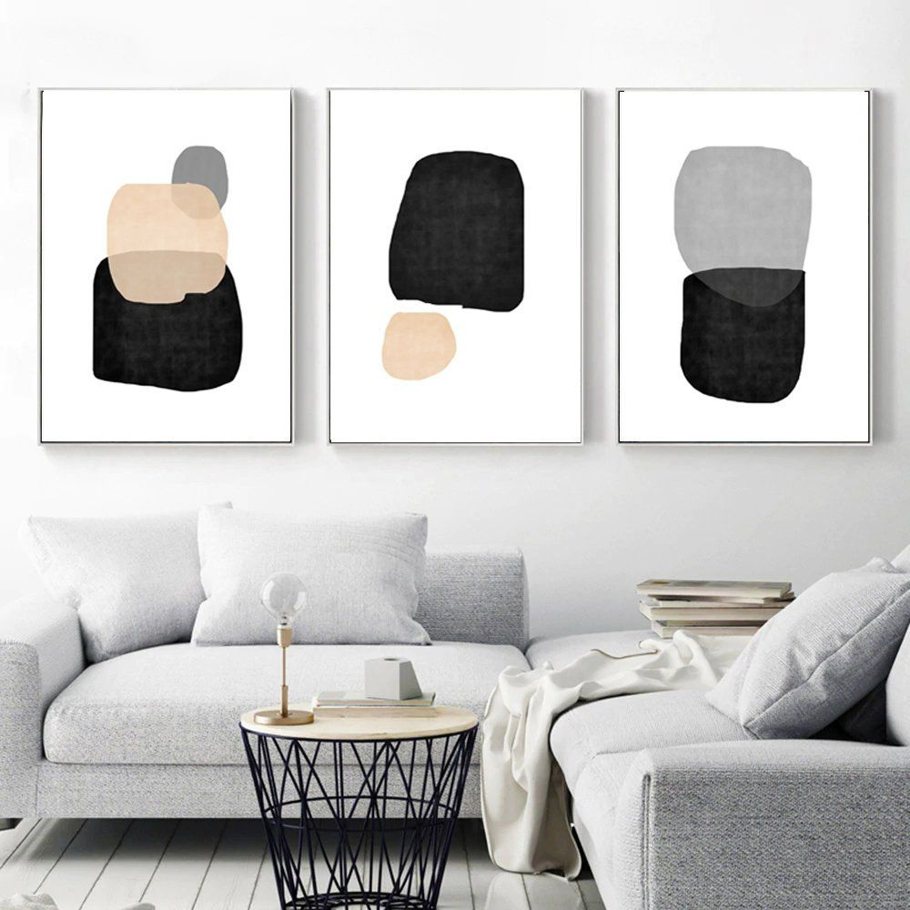 Geometric Print Minimalist Poster Black And Grey Art Set Of 3 Prints Simple Art Digital Prints Abstract Artwork Geometric Modern Art Wall Art Living Room Room Wall Art Modern Geometric Art
