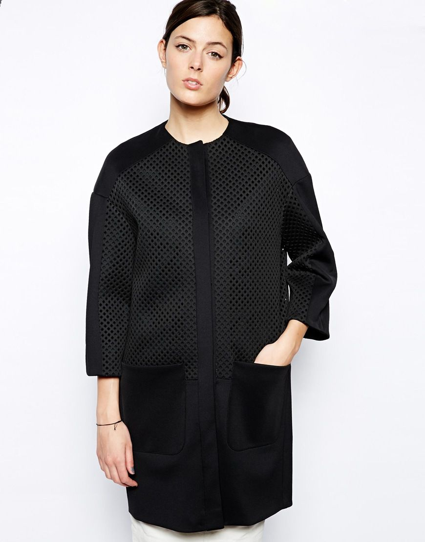 Elegant and textural - ASOS Cocoon Coat with Oversized Mesh Panels