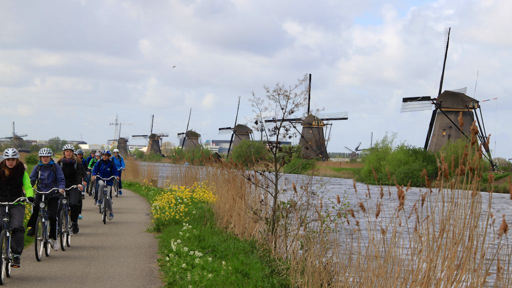 Cyclists at Kinderdijk in South Holland