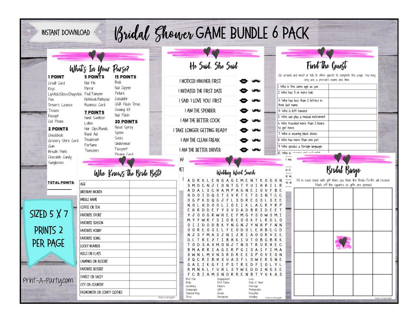 Printable Bridal Shower Game Bundle - 6 pack games - INSTANT