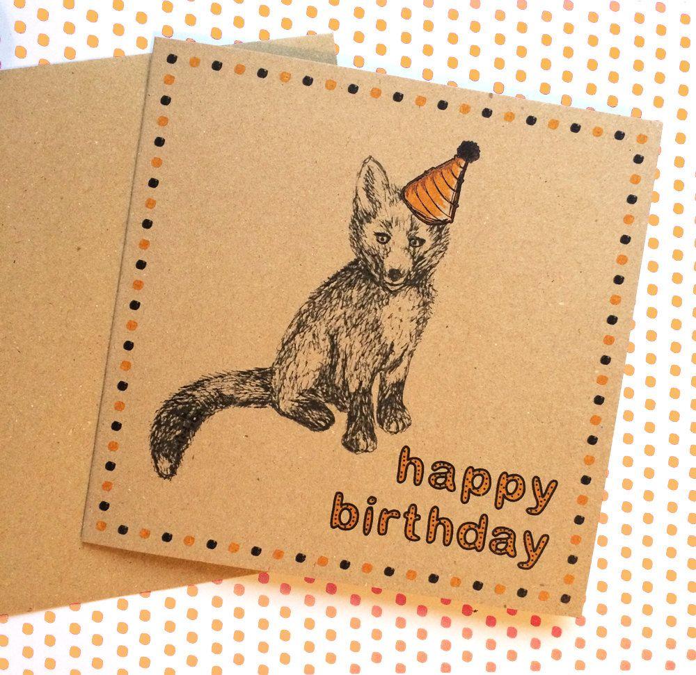 Fox card happy birthday woodland fox sketch with party hat fun fox card happy birthday woodland fox sketch with party hat fun birthday greeting for kristyandbryce Choice Image