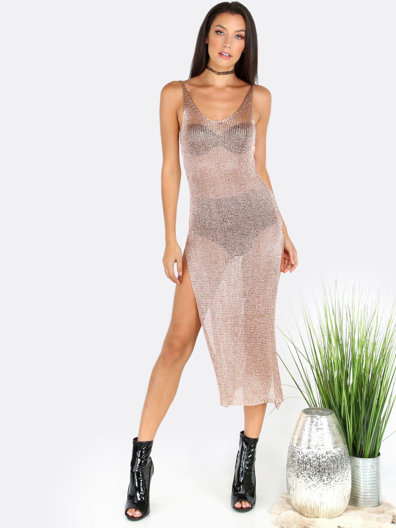 Low back metallic slit dress rose gold metallic and gold