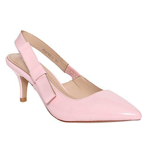 cc5c272394c LANINI DE59 Women s Bow Tie Kitten Heel Slingback Dress P... Find this Pin  and more on Pink Dress Shoes ...