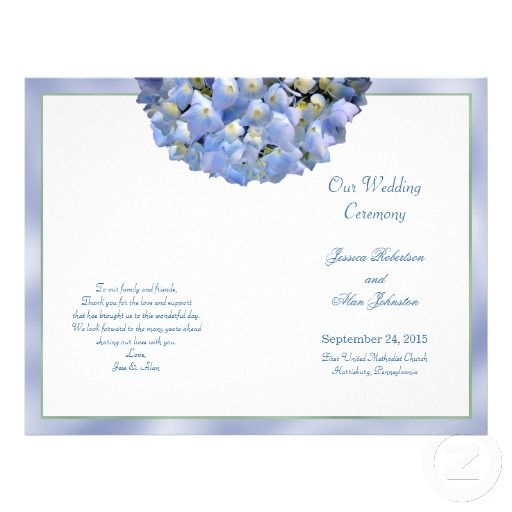 Alpha Hydrangea Folded Wedding Program Template Program template - how to design wedding program template