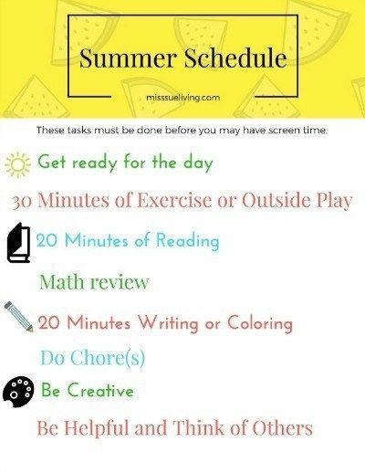 Making a Summer Schedule to Reduce Screen Time ~ Miss Sue Living #summerschedule Screen time can be a hot topic for families. How much is too much? Making a summer schedule can help in reducing screen time and keeping kids active! #screentime #screentimerules #summerschedule Making a Summer Schedule to Reduce Screen Time ~ Miss Sue Living #summerschedule Screen time can be a hot topic for families. How much is too much? Making a summer schedule can help in reducing screen time and keeping kids a #summerschedule