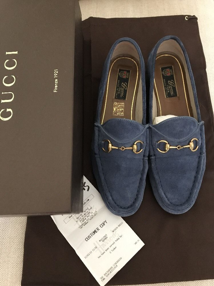 277dd6950 Gucci Blue Suede Horsebit classic loafers. Leather sole. Box receipt and  dust bag. I'll always list faults and imperfections as thoroughly as I can  but I am ...