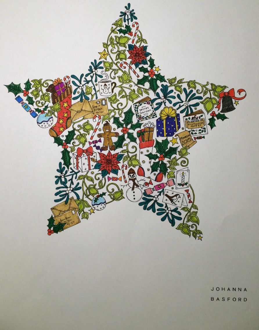 Johanna Basford - Christmas star from her website | lineart ...