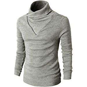b0a126cc3eb6 H2H Mens Fashion Turtleneck Slim Fit Pullover Sweater Oblique Line Bottom  Edge