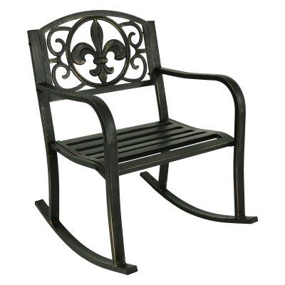 Tremendous Sunnydaze Decor Fleur De Lis Design Cast Iron Patio Rocking Caraccident5 Cool Chair Designs And Ideas Caraccident5Info