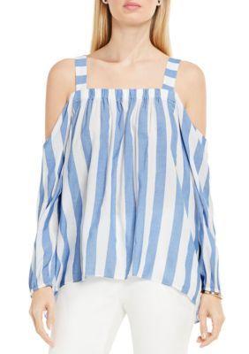 c3d0bbd657be7 Vince Camuto Women s Cold Shoulder Stripe Blouse - Stormy Blue - Xl