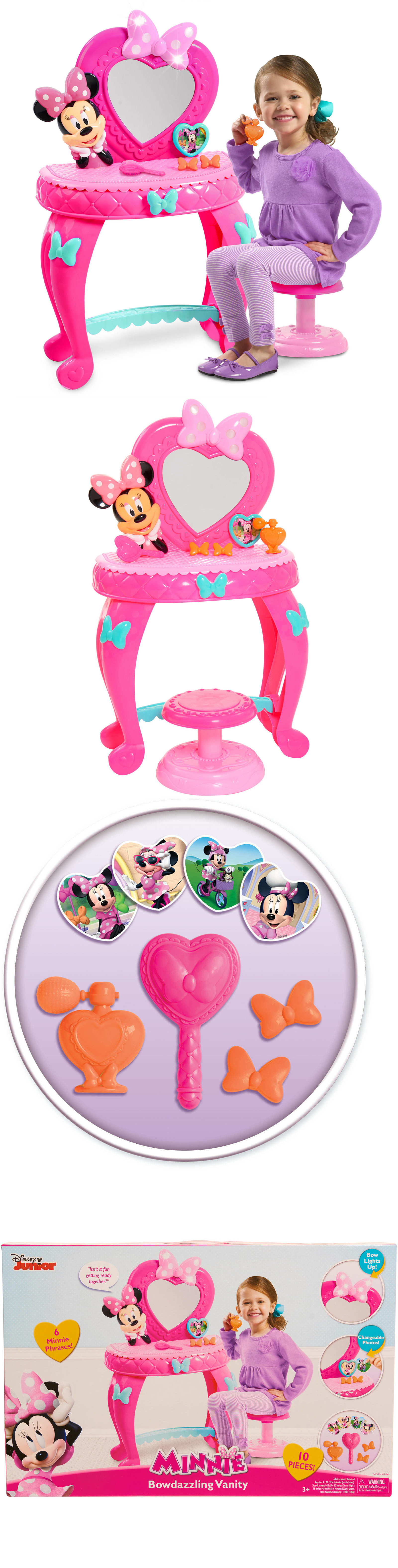 Minnie 19220: Girls Vanity Pink Disney Table Stool, Play Brush, Play  Perfume Bottle