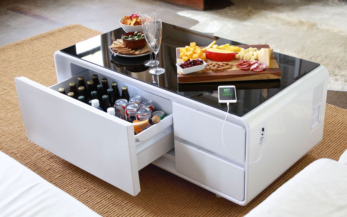 This Coffee Table Chills Beer, Charges Your Phone and Is