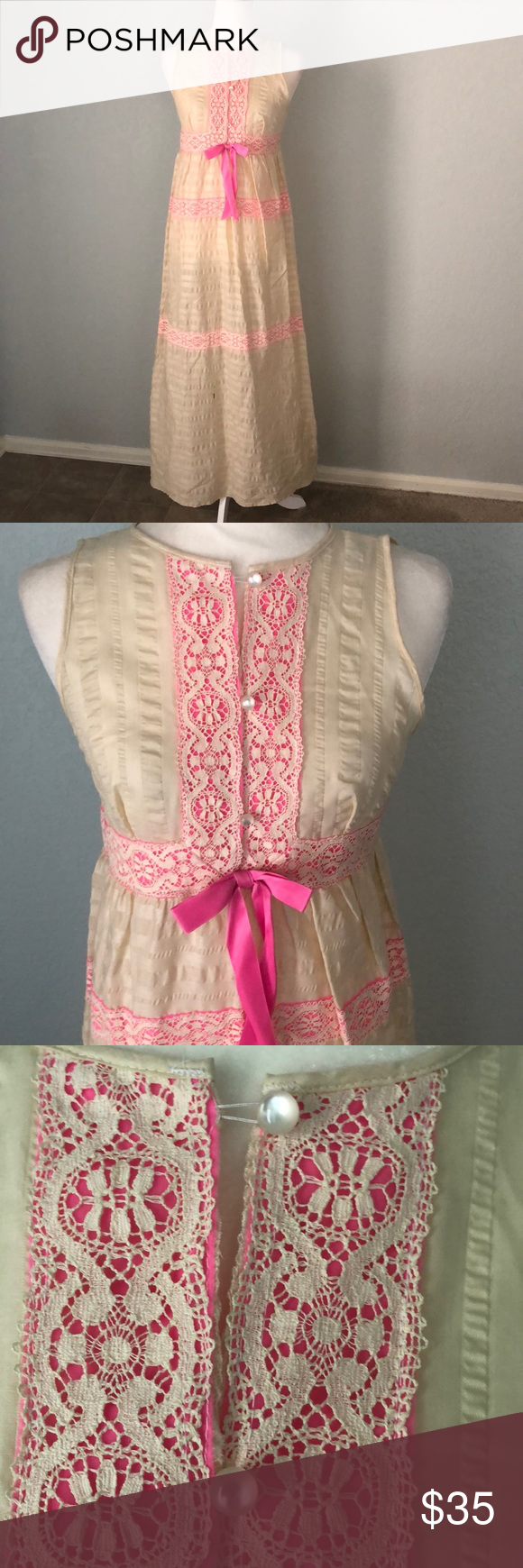 Vintage us dress ribbon lace long maxi my posh picks pinterest