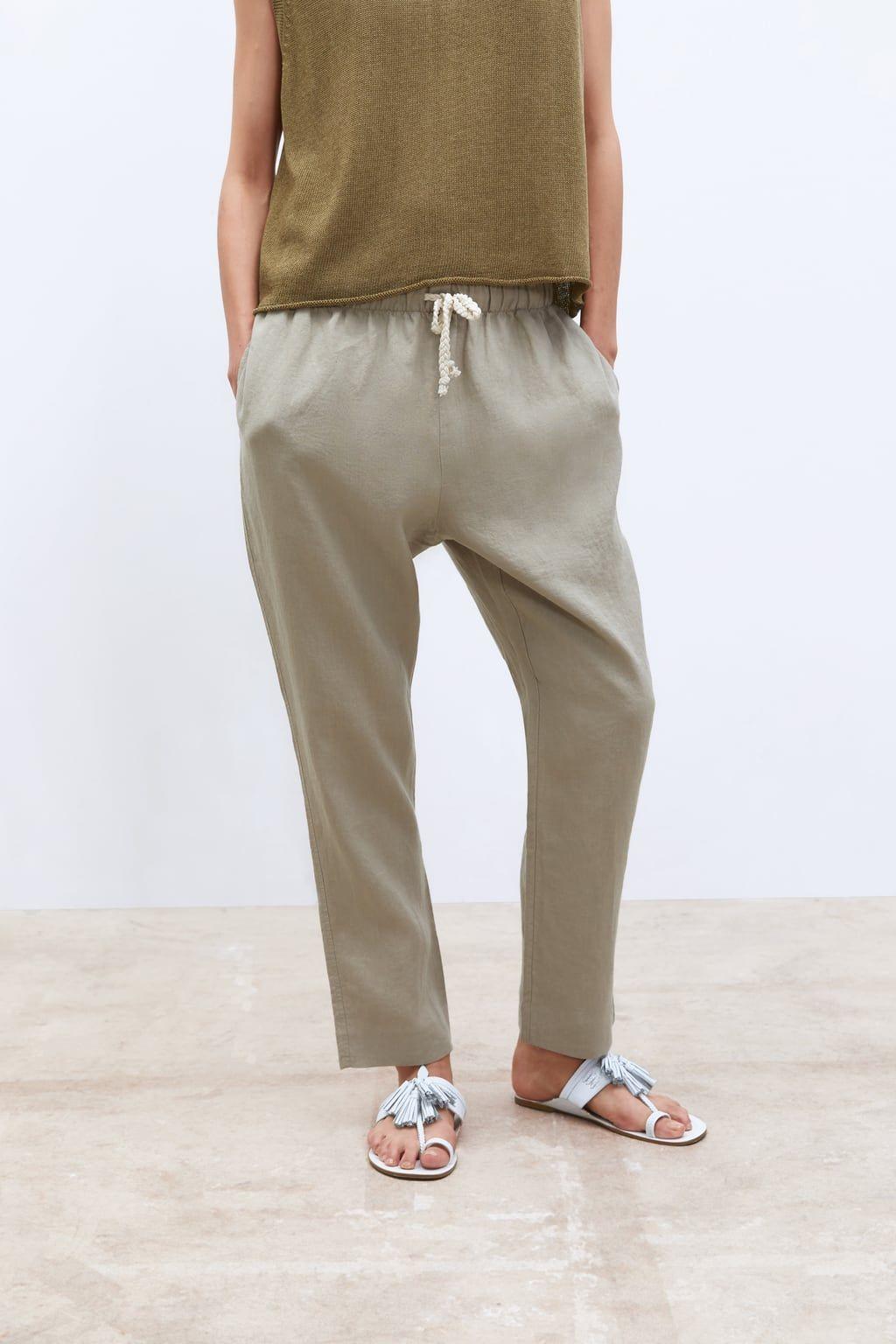 W2019 Lniane Spodnie Wiazane W Pasie Zobacz Wiecej Spodnie Kobieta Zara Polska Linen Drawstring Pants Linen Drawstring Drawstring Pants