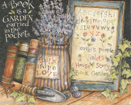 Beautiful-2002-12-Note-Cards-Envelopes-A-BOOK-IS-A-GARDEN-by-Main-ST-Press