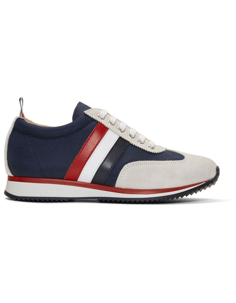 Thom Browne Off- Suede Tricolor Stripe Sneakers