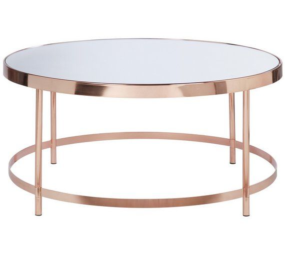 Collection Round Gl Top Coffee Table Copper Plated