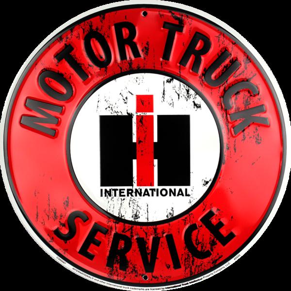 "INTERNATIONAL HARVESTER Motor Truck Service 24/"" Circular Embossed Tin Metal Sign"