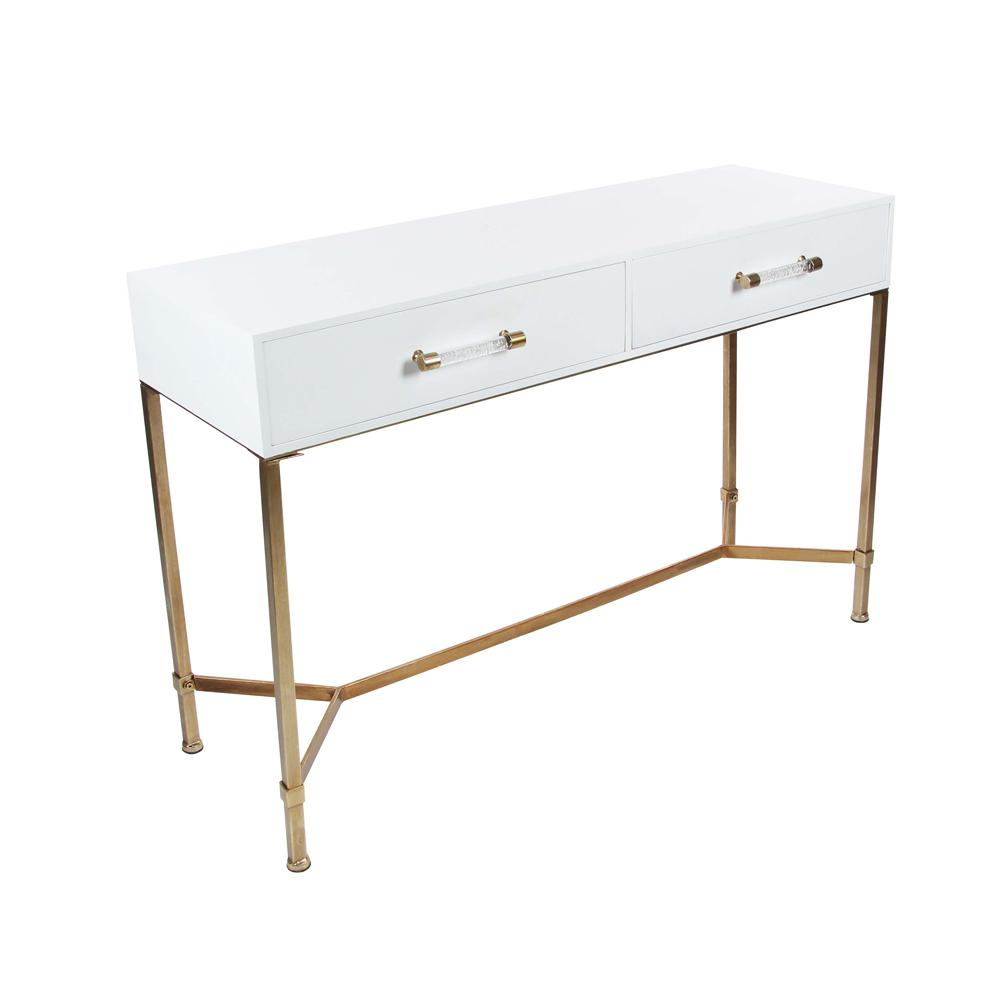 Litton Lane Modern White Metal Wood Console Table 84284 The Home Depot White Console Table Wood Console Table Wood Console