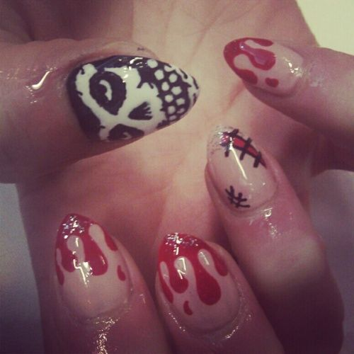 Misfits Nail Art I Would Get This Done For My Hubby Interesting