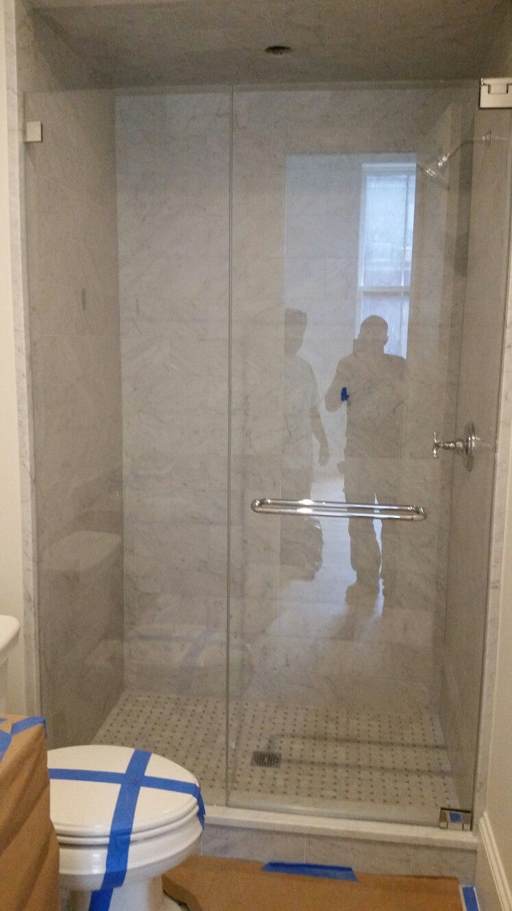 Frameless Shower Door With An Inline Panel 3 8 Starphire