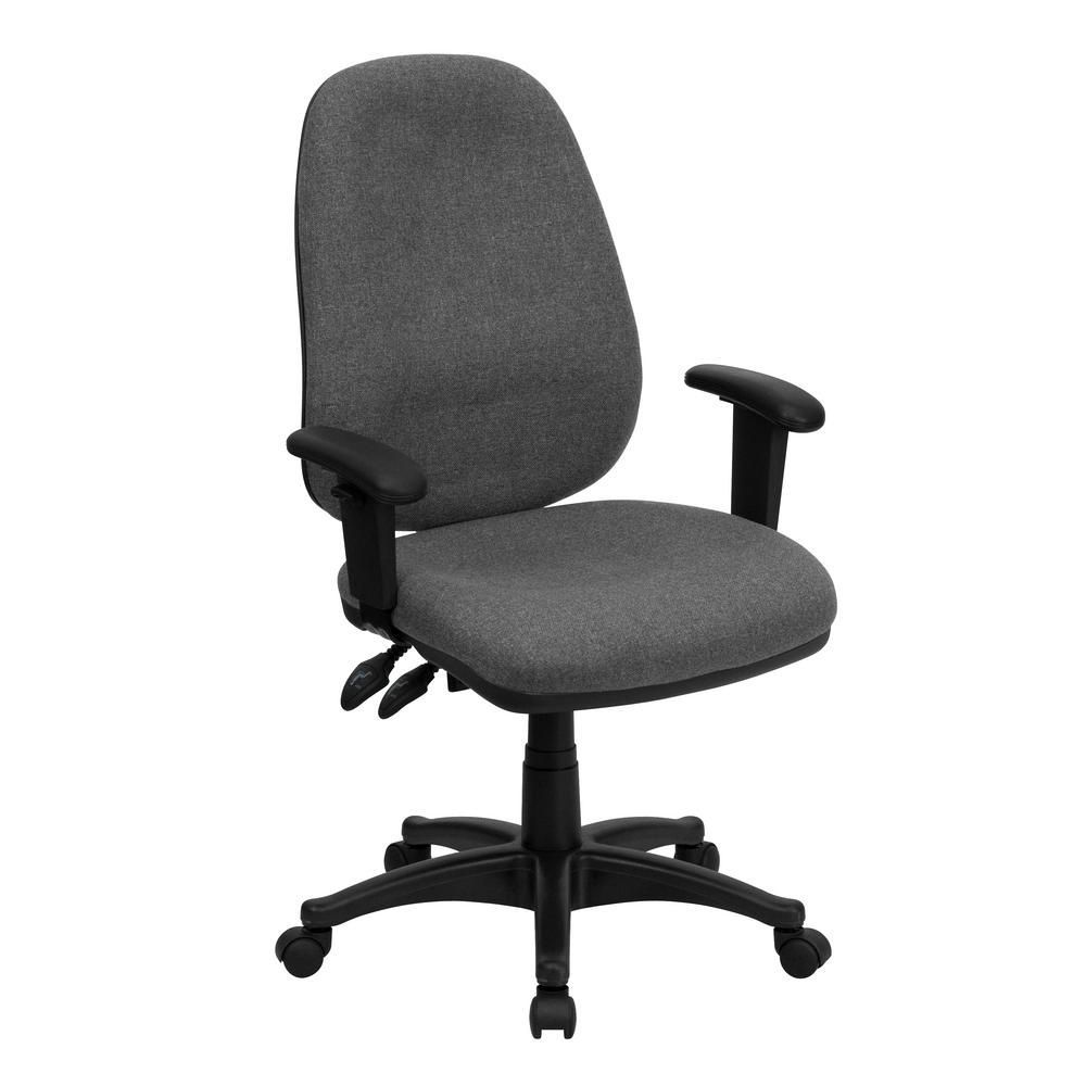 Office Chair With Adjustable Arms High Back Gray Fabric Executive Ergonomic Swivel Office Chair With
