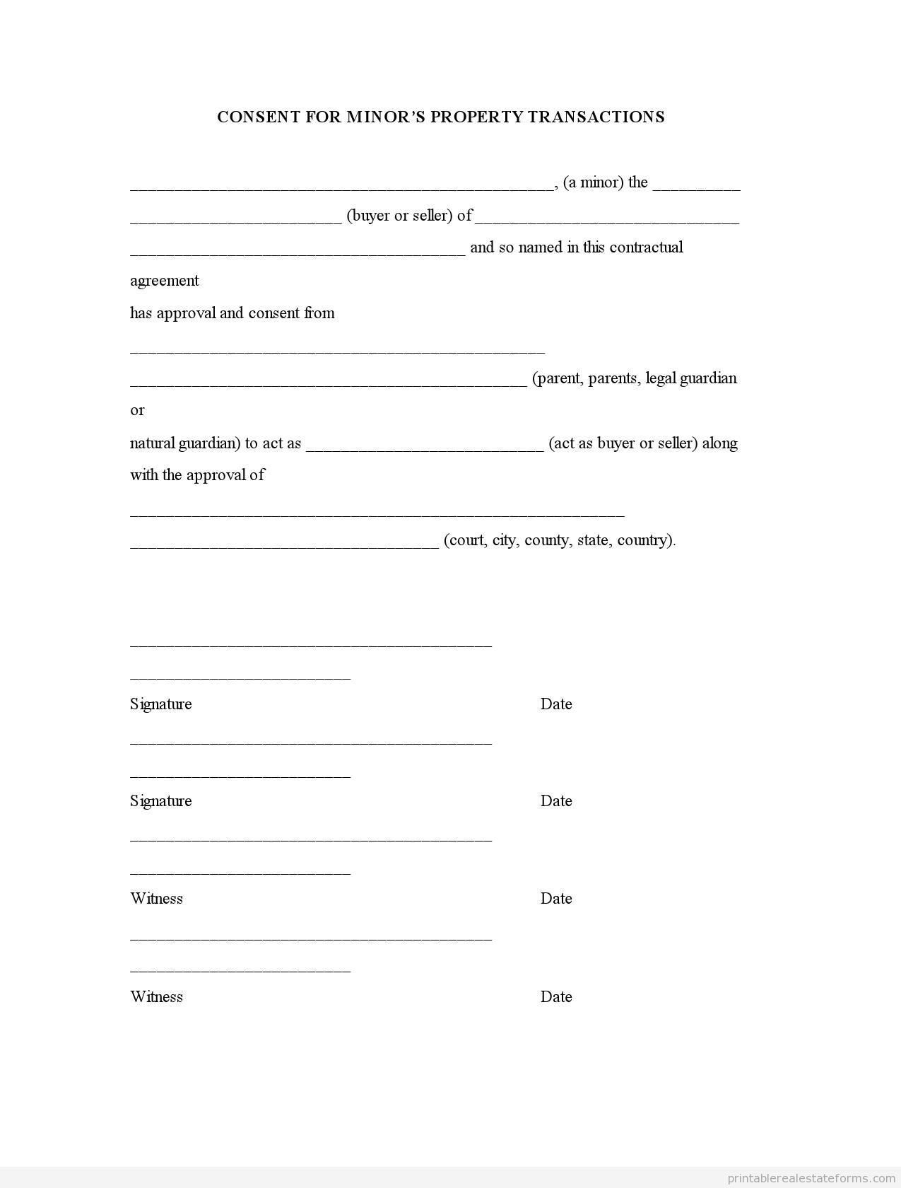 Sample Printable Consent For Minor Property Transactions Form