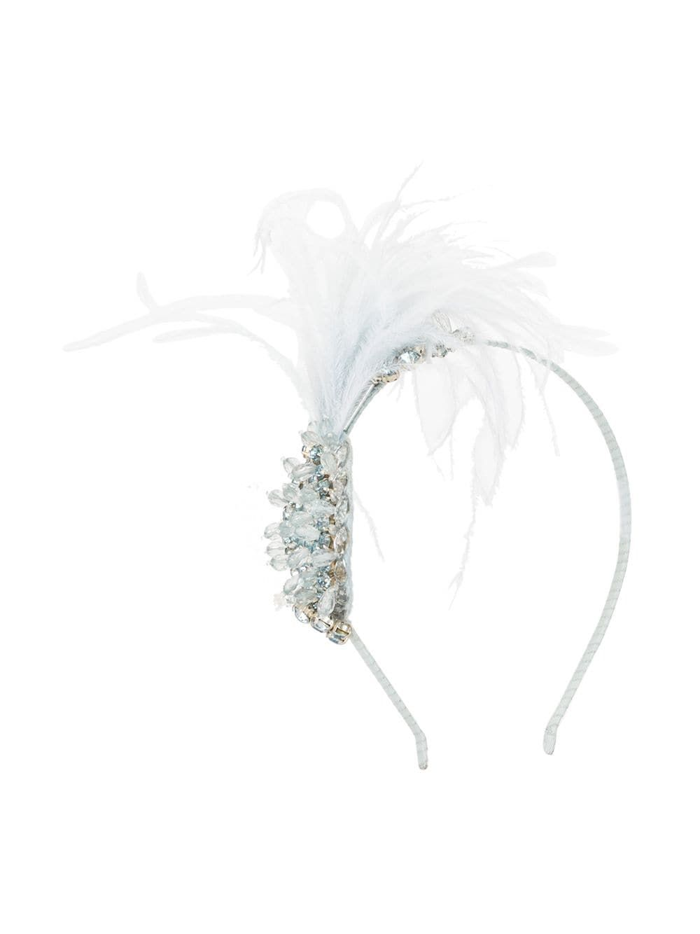 Seafoam blue Birds Of Feather headband from TUTU DU MONDE featuring feather detailing and crystal embellishment.