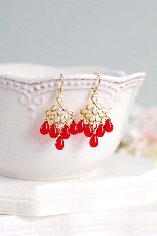 Ruby red gold chandelier earrings siam glass gold peacock feather siam red crystal gold chandelier earrings gold filigree teardrop ruby red dangle earrings red aloadofball Choice Image