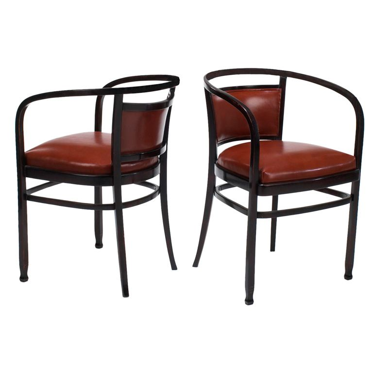 Fancy Pair of Otto Wagner Arm Chairs Made by J u J Kohn