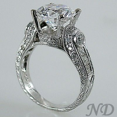 art deco filligree antique style round cut engagement ring 200 ct - Art Deco Wedding Rings