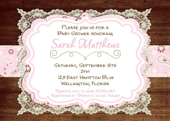 Lace Rustic Baby Shower Invitation Pink Vintage By 3peasprints