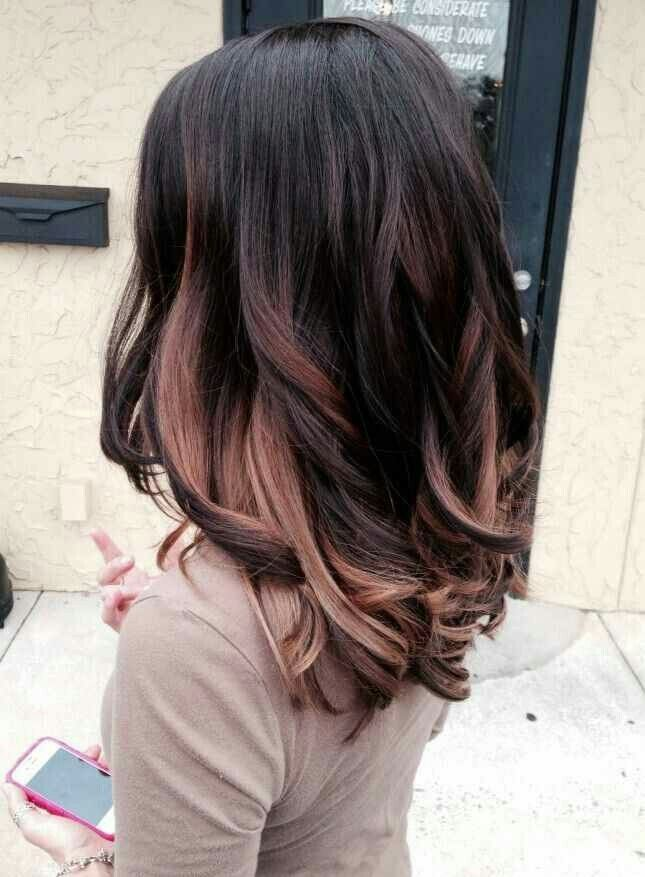 Dark Brown With Rose Gold Ombre Highlights Hair Balayage Hair