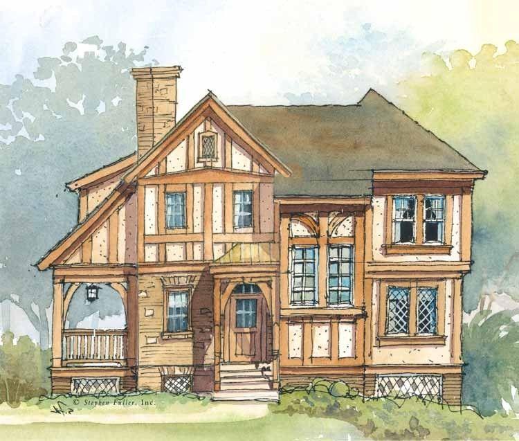 Tudor Style House Plan 2 Beds 2 5 Baths 1331 Sq Ft Plan 429 319 Tudor House Tudor Style Homes Small House Plans