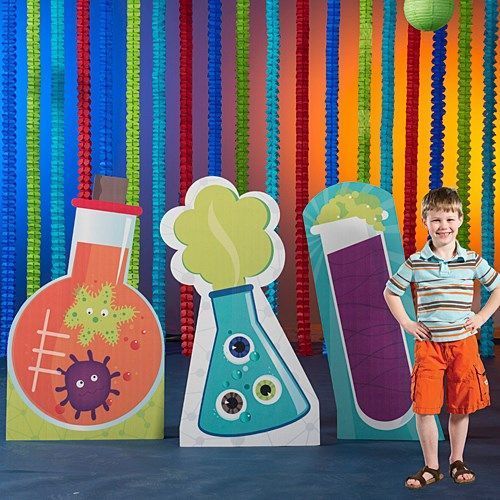 Mad Scientist Big Bang Science Kids Birthday Party Decoration Hanging Cutouts