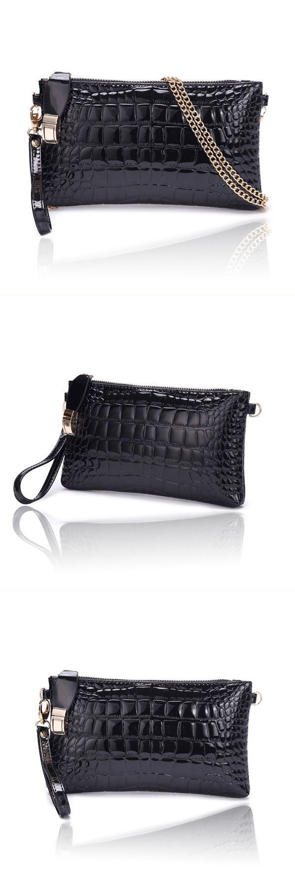 Women 8217 S Crocodile Pattern Chain Clutch Handbag Shoulder