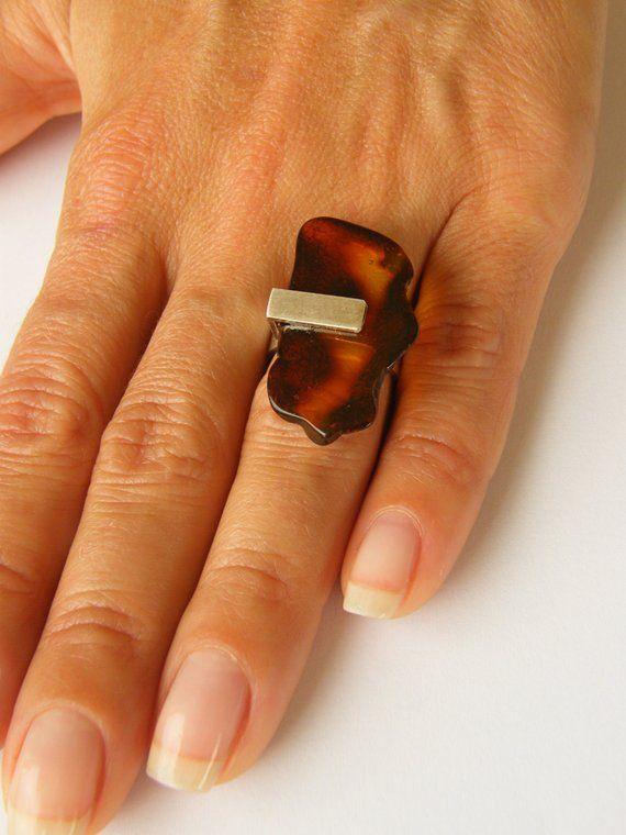 Best Ring Genuine Amber Ring Matte Sterling Silver 925 Rail 400 x 300