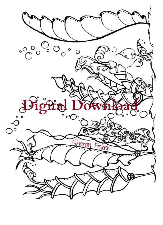 Adult Coloring Book Zentangle Under The Sea Art Therapy Vol 4 20 Printable PDF Calming Anti Stress Digital Download