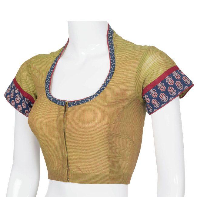 2912dbf403c92f Svasa Handcrafted Blouse with Kalamkari   Thread work 10003290 - AVISHYA.COM