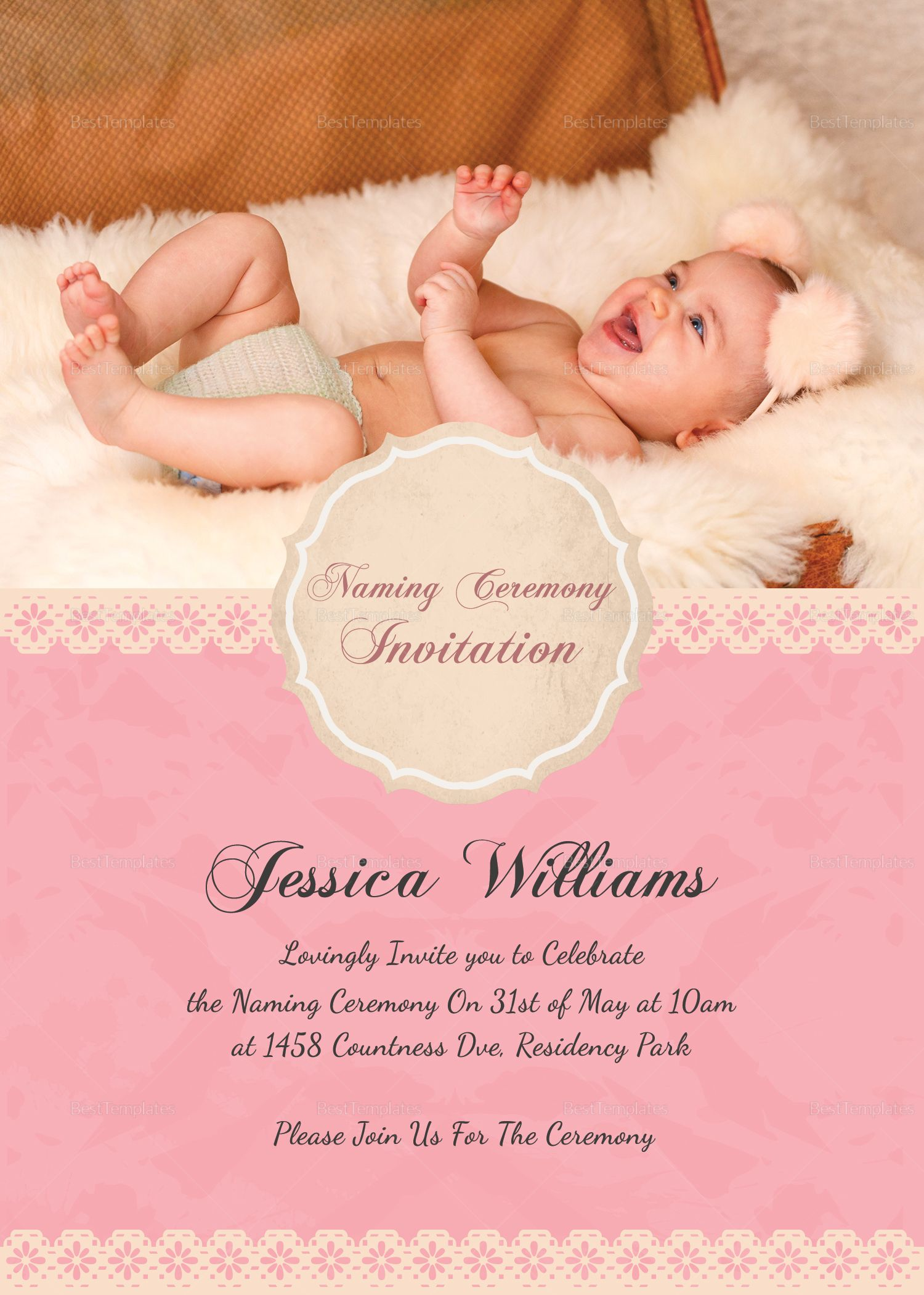 Happy Baby Naming Ceremony Invitation Card Template Naming