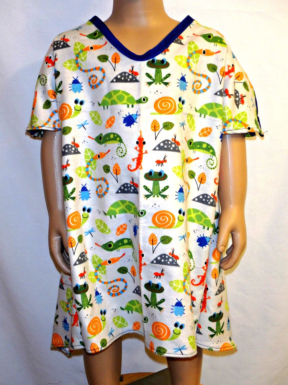Child\'s IV Hospital Gown for Post Surgery FLANNEL Gown Fits Age 0-3 ...