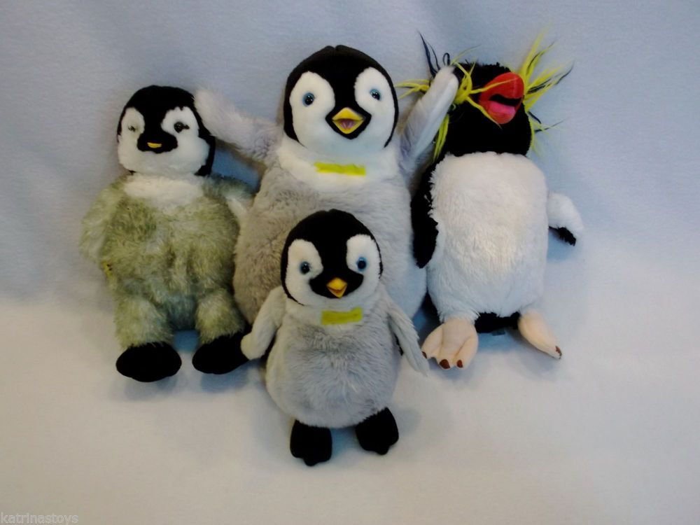 3c38c2d14da Lot of 4 Warner brothers Happy Feet MUMBLE LOVELESS penguin plush toys USED   Warnerbrothers