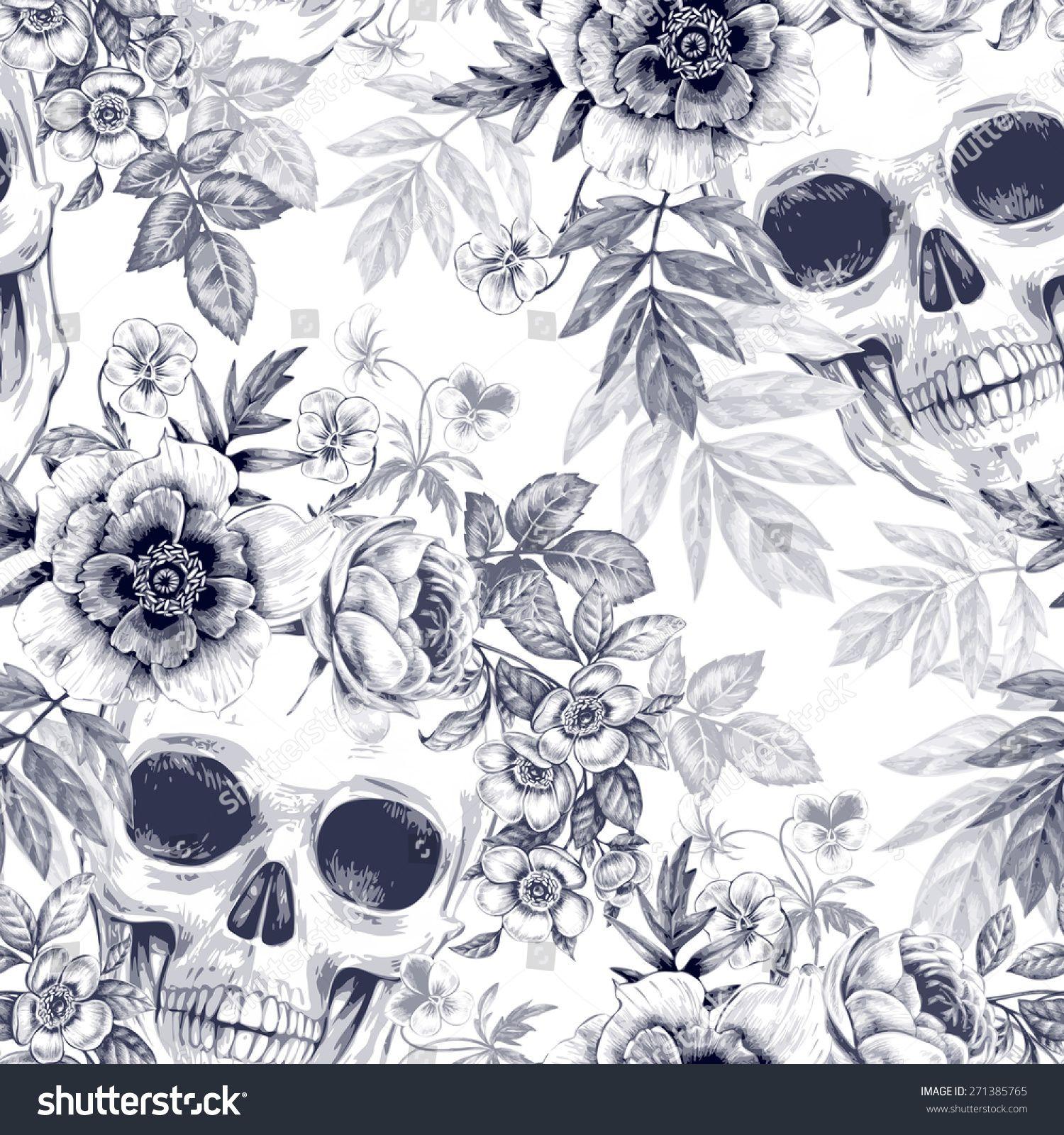 Sugar Skull Wallpaper Roses Flower Modern Hearts Floral